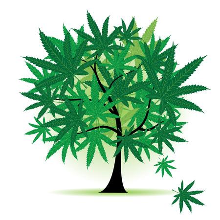 Art tree fantasy, cannabis leaf Vector