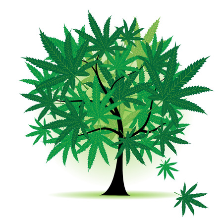 marijuana: Art tree fantasy, cannabis leaf