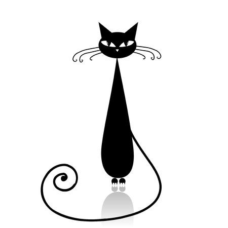 silueta de gato: Silueta de gato negro para su diseño Vectores