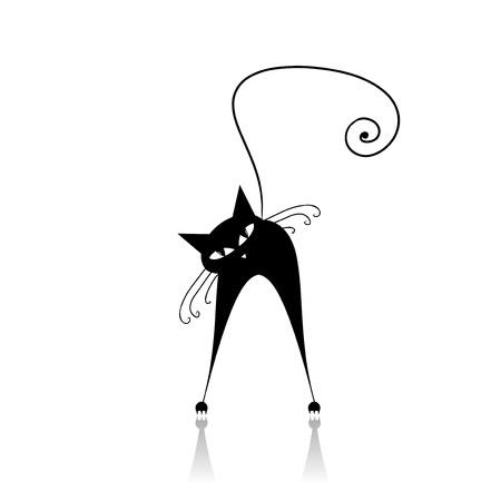 silueta de gato negro: Silueta de gato negro para su diseño Vectores
