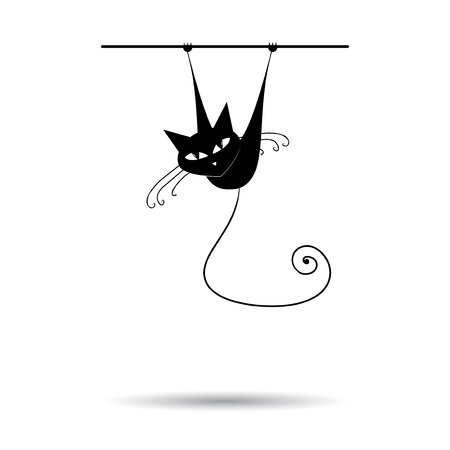 whiskers: Black cat silhouette for your design