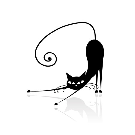 cat walk: Black cat silhouette for your design