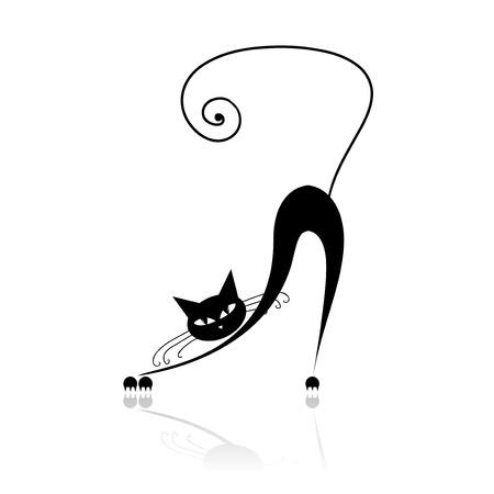 gato negro: Silueta de gato negro para su dise�o Vectores
