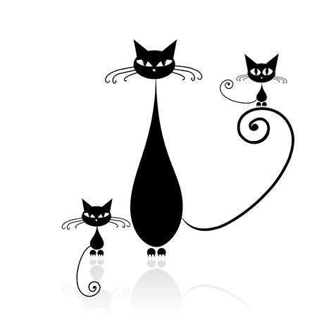sencillez: Silueta de gato negro para su diseño   Vectores