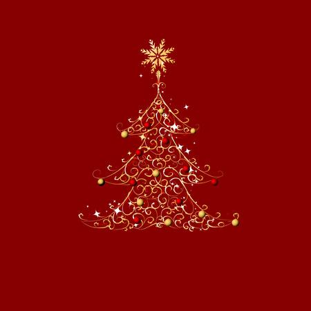 Christmas tree, golden ornament Stock Vector - 5918705