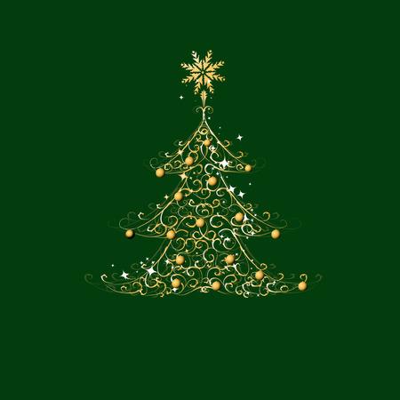 Christmas tree, golden ornament Stock Vector - 5918702