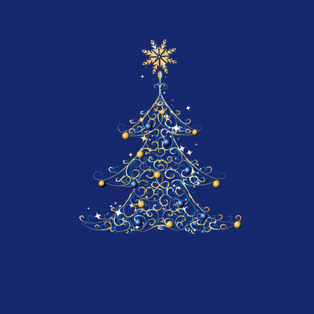 Christmas tree, golden ornament Stock Vector - 5918703
