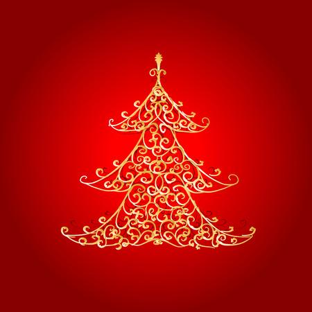 Christmas tree, golden ornament Vector