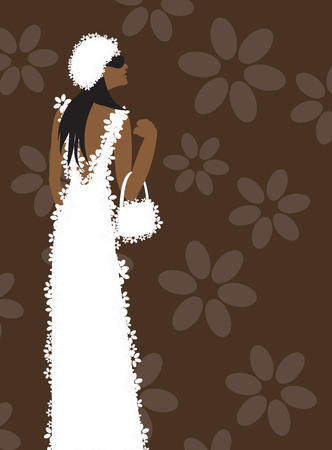 White dress, fashion woman Vector