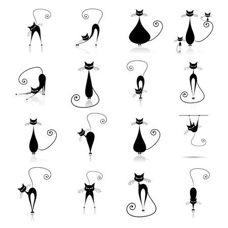 gato dibujo: Colecciones de la silueta de gato negro