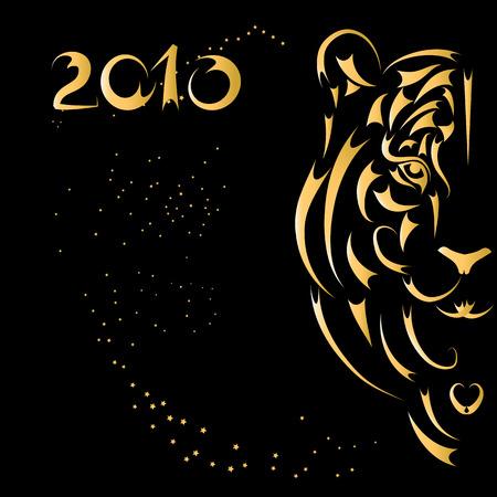 silueta tigre: Silueta estilizada de tigre, s�mbolo a�o 2010  Vectores