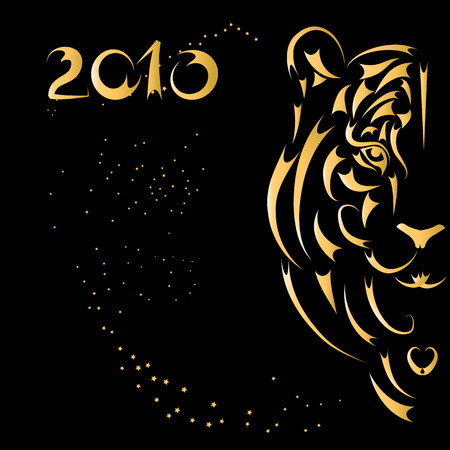 cartoon tiger: Tiger stylized silhouette, symbol 2010 year
