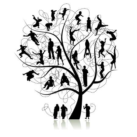 familia en jardin: �rbol de la familia, parientes  Vectores