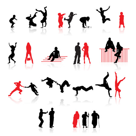Silhouettes of people: fun children, young couples, sport teens, old age Vector