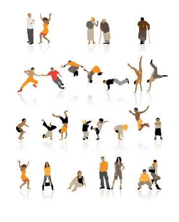 teenagers love: Detailed silhouettes of people: fun children, young couples, sport teens, old age