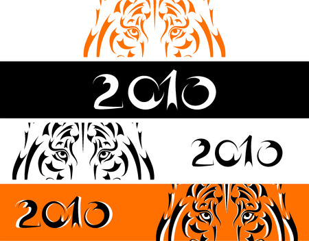 Tiger banners, symbol 2010 new year Vector