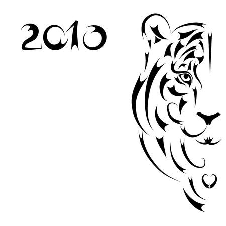 visage peint: Tiger silhouette stylis�e, symbole de 2010 ann�es Illustration