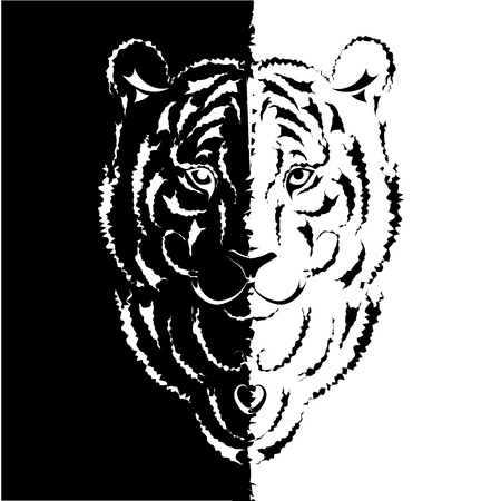 Tiger stylized silhouette, symbol 2010 year Stock Vector - 5979510
