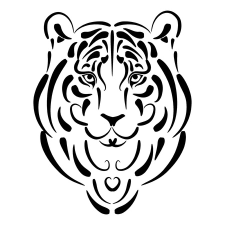 Tiger stylized silhouette, symbol 2010 year Stock Vector - 5979505