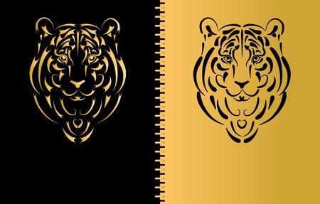 silueta tigre: Silueta estilizada de tigre, s�mbolo del a�o 2010 Vectores
