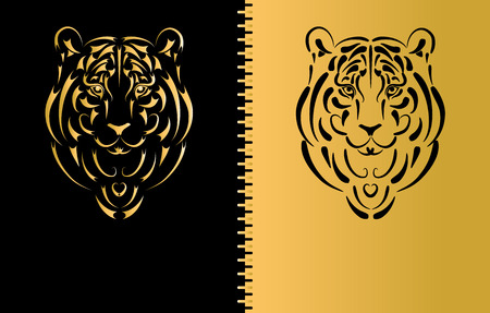 year of the tiger: Tiger stylized silhouette, symbol 2010 year