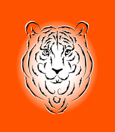 Tiger stylized silhouette, symbol 2010 year Stock Vector - 5979509
