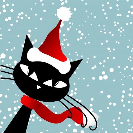 Santa cat. Christmas card. Vector