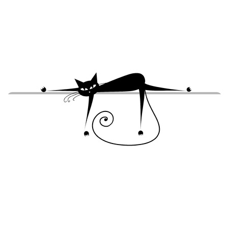 Relax. Black cat silhouette for your design Stock Vector - 6007374