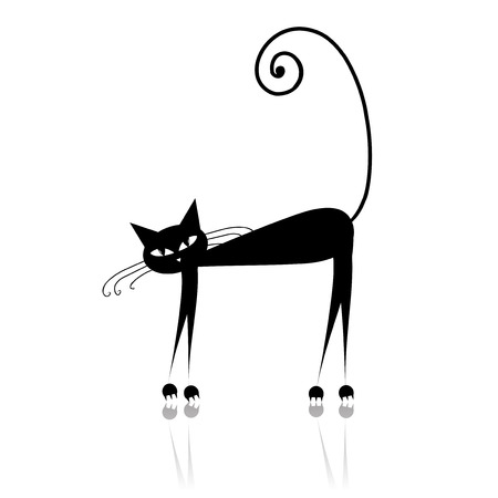 Black cat silhouette for your design Stock Vector - 6007376
