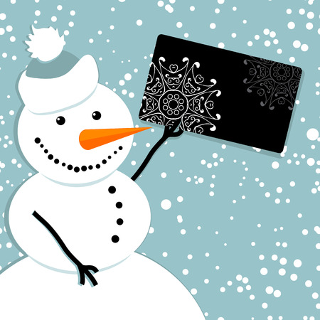Happy snowman with credit card, christmas shopping Vector