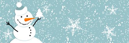 Happy snowman, christmas card Stock Vector - 6007385