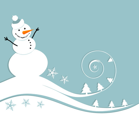 Happy snowman, christmas card Stock Vector - 6007381