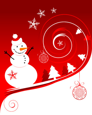 character abstract: Happy snowman, christmas card