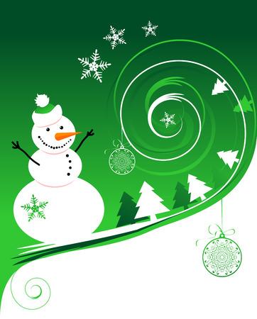 Happy snowman, christmas card Stock Vector - 6007395