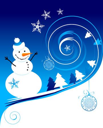 Happy snowman, christmas card Vector