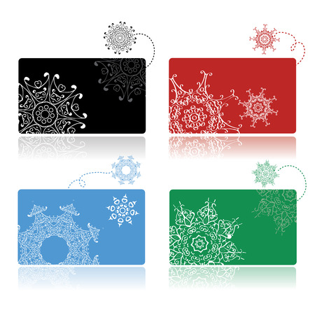 Christmas shopping, set of credit cards Vector