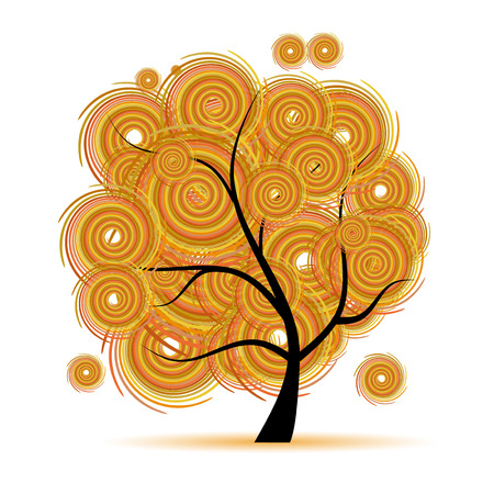 Art tree fantasy, autumn season Vector
