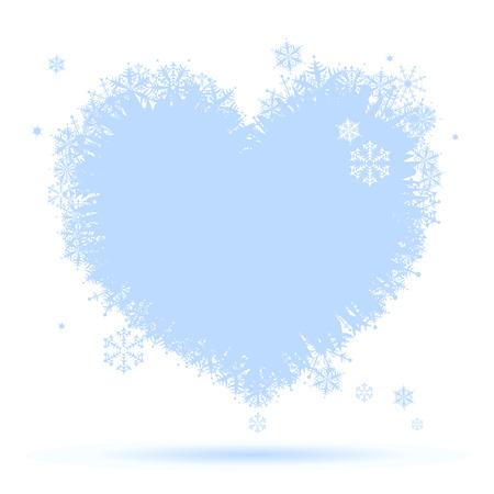 glitter hearts: I like winter! Heart shape of snowflakes Illustration