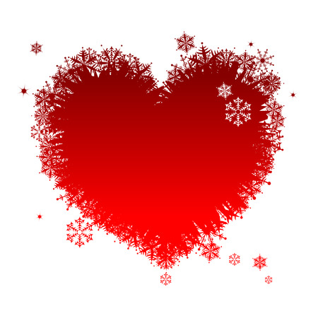 I like winter! Heart shape of snowflakes Vector