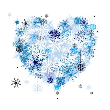 I like winter! Heart shape of snowflakes Illustration