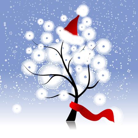 kerstmuts: Kerst hoed op winter boom Stock Illustratie