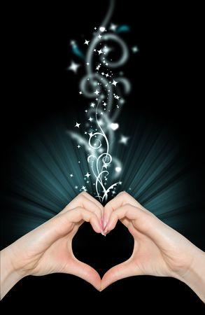 making love: Amor magia, manos de forma de coraz�n
