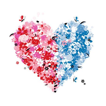 Floralen Herzen Form der zwei Hälften