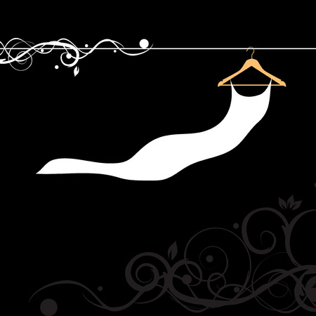 Beautiful dress white on hanger Vector
