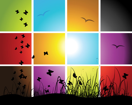 Times of day, sunset on meadow, mosaic background for your design Vector