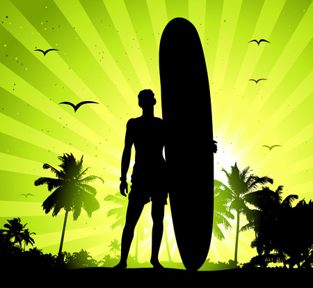 Summer holiday, man with surfboard Stock Vector - 6416538