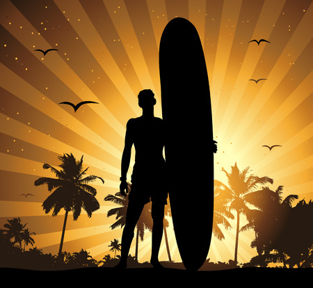 Summer holiday, man with surfboard Vector