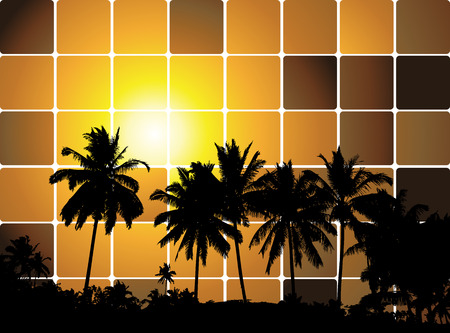 Tropical sunset, mosaic background for your design Vector
