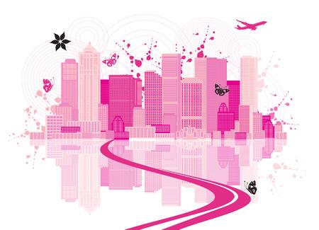 construct: Cityscape achtergrond, stedelijke kunst Stock Illustratie