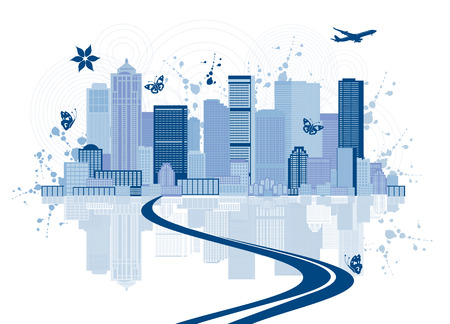 Cityscape background, urban art Vector